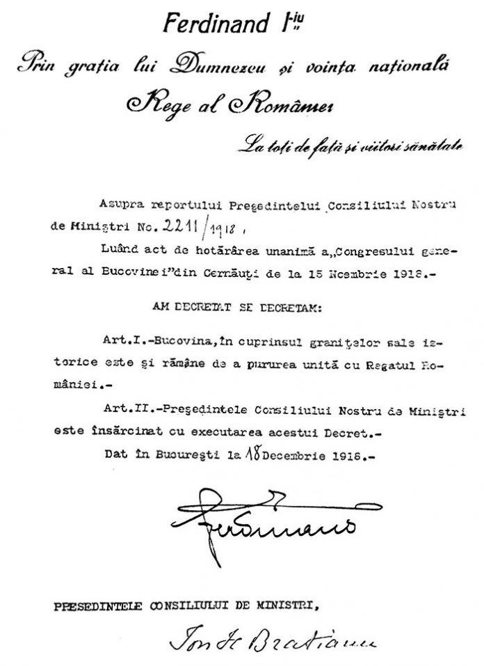 Decretul regal pentru promulgarea unirii Bucovinei cu România din 18 decembrie 1918