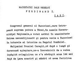 Telegramă trimisă regelui Ferdinand I de Congresul general al Bucovinei din 28 noiembrie 1918