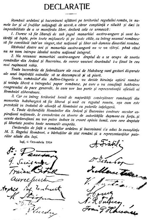 Declarația românilor ardeleni și bucovineni aflați pe teritoriul Regatului României din 6 octombrie 1918