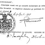 Decretul regal de unire a Basarabiei cu România, semnat de Ferdinand I, Alexandru Marghiloman, Dem Dobrescu