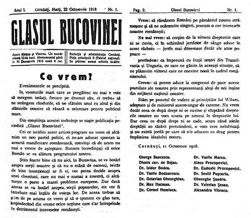 Ce vrem? articol din Glasul Bucovinei din 22 octombrie 1918